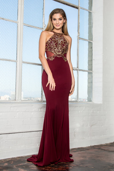 Halter Neckline Sleeveless Mermaid Long Prom Dress GSGL2328
