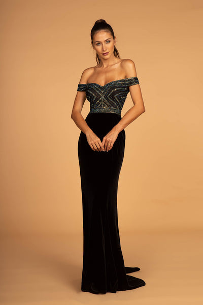 Off-Shoulder Sweetheart Neckline Beaded Long Prom Dress GSGL2628