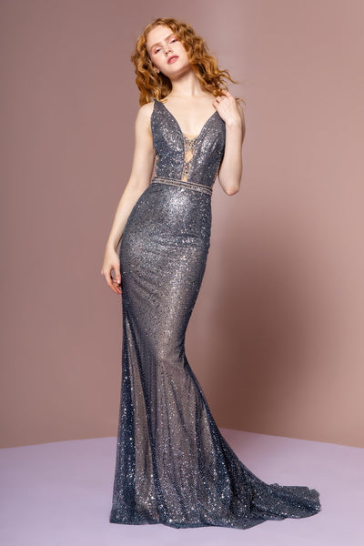 Illusion V-Neckline Maxi Long Mermaid Prom Dress GSGL2678