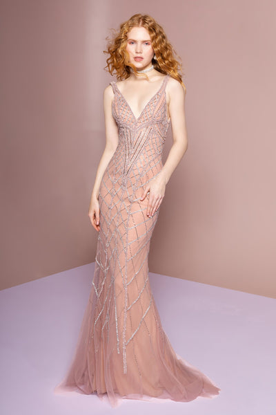 V-Neckline Sleeveless Prom Long A-line Dress GSGL2701