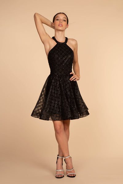 Jeweled Hatler Neckline Homecoming Short Dress GSGS1631