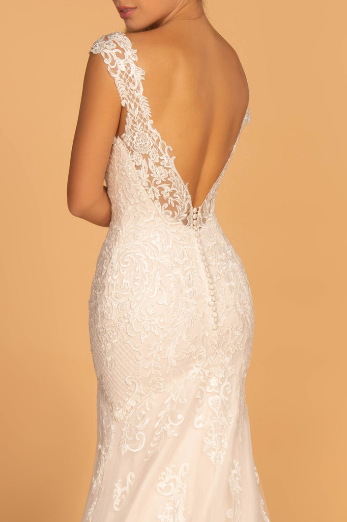 V-Neck Sleeveless Mermaid Shape Wedding Dress GSGL2595