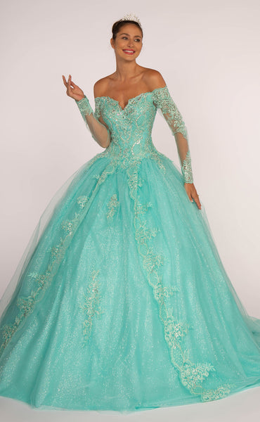 Cut-Away Shoulder Sweetheart Neck Long Ballgown Dress GSGL2603