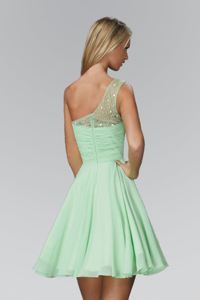 One Shoulder Sequin Bodice Short A-Line Prom Dress GS2020