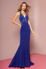 V-Neckline Sequined bodice Long Dress GS1337
