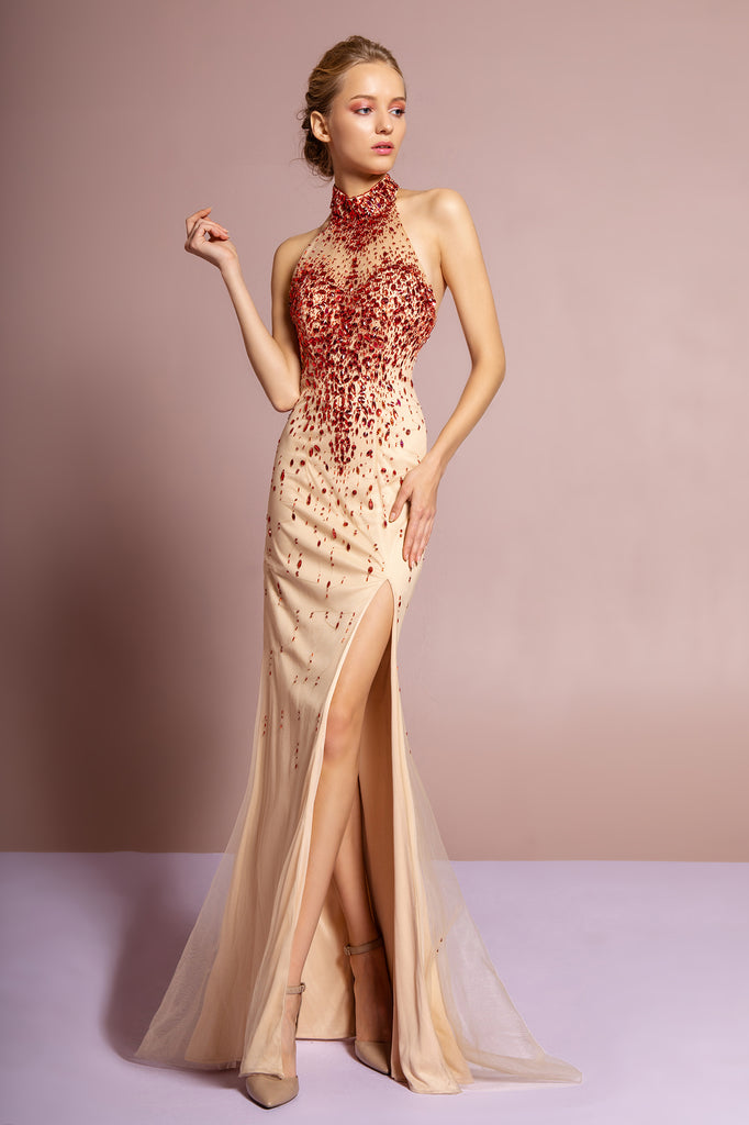 High Neckline Leg Slit Mermaid Shape Dress GS2147