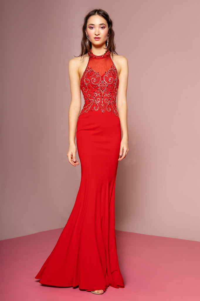 Halter Neckline Sequined Mermaid Dress GS1373