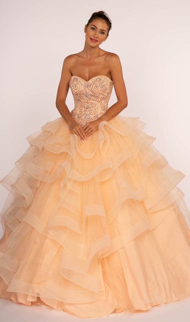 Sweetheart Neckline Strapless Long Ballgown Dress GSGL2515