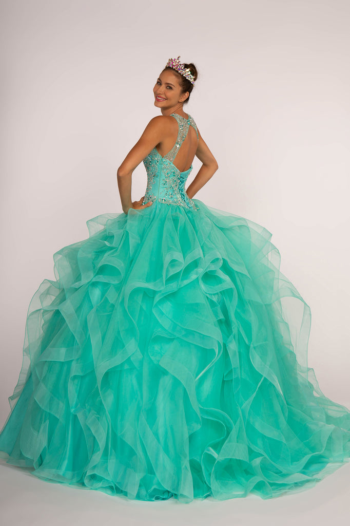 Illusion Jeweled Neckline Ballgown Long Prom Dress GSGL2518