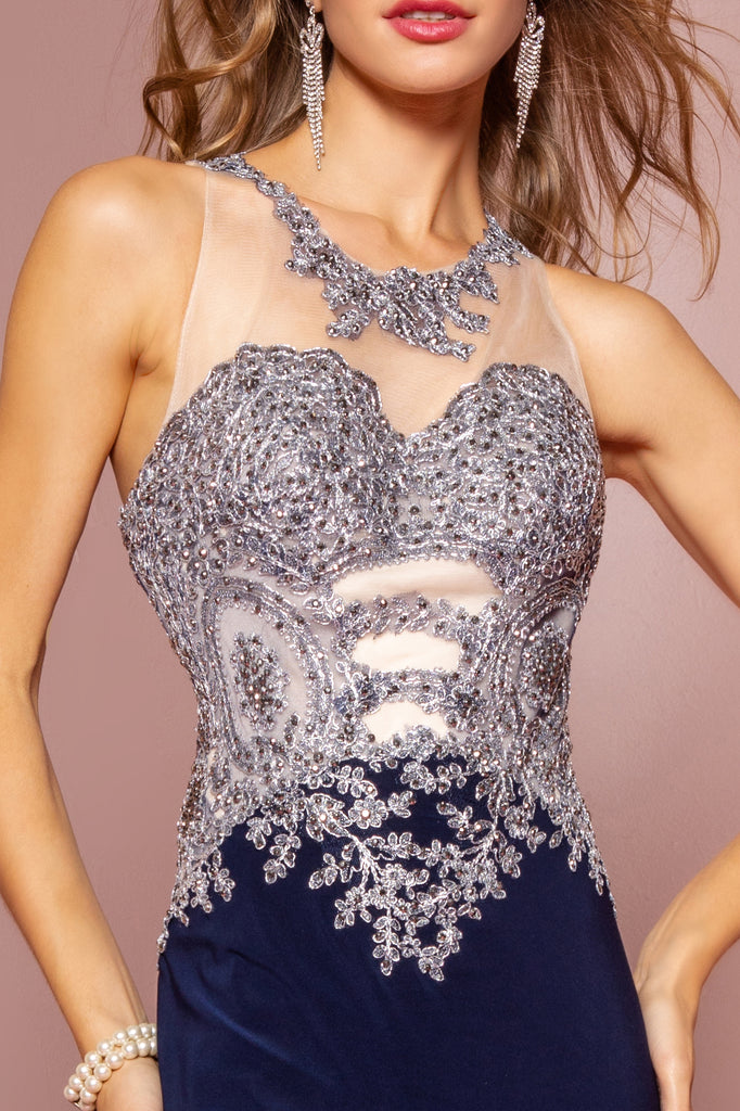 High Illusion Neckline Sequined Bodice Dress GS1331