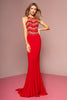 Sequined Bodice Illusion Neckline Dress GS1361