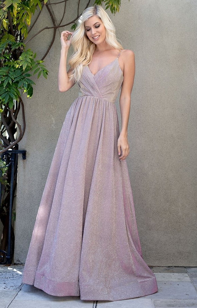 Glitter Crepe V-Neckline Long Prom Dress ACR013