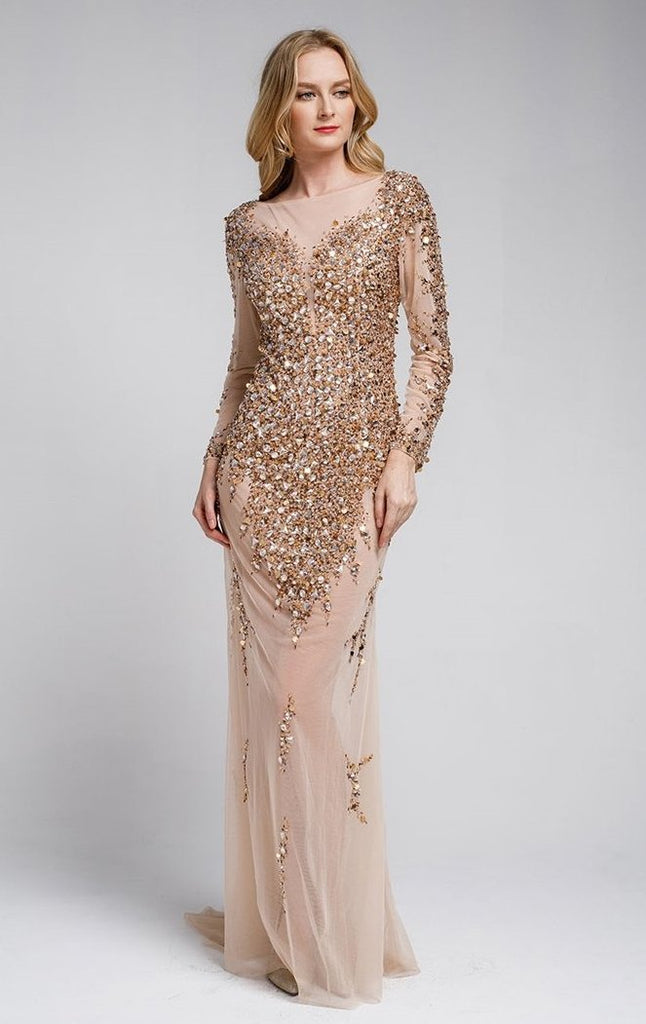 Women Beaded Mother Of The Bride Evening Formal Long Gown Dress ACSU061 - smcfashion.com