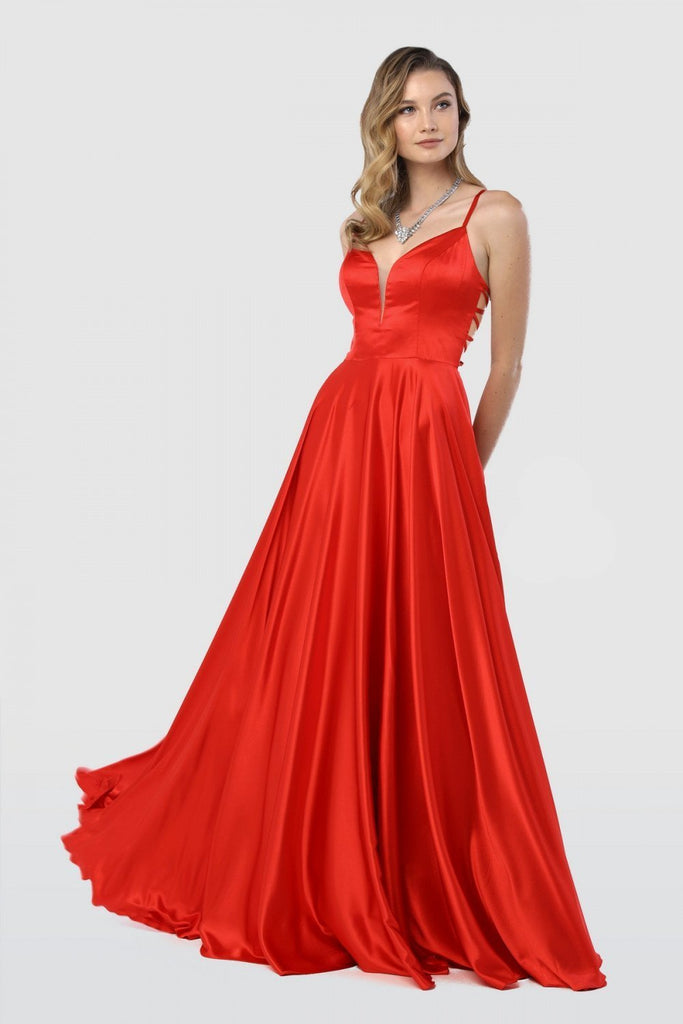 V-Neckline Sleeveless Elegance A-Line Long Prom Dress NXA180