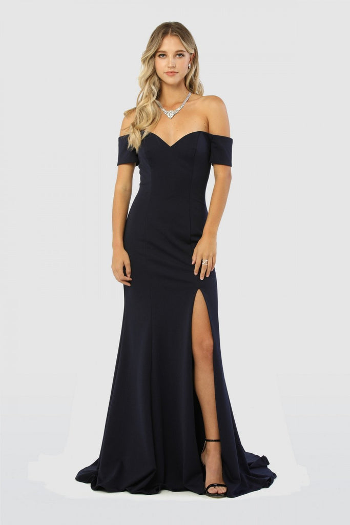 Off Shoulder Sweetheart Leg cut Mermaid Long Navy Evening Dress NXC212