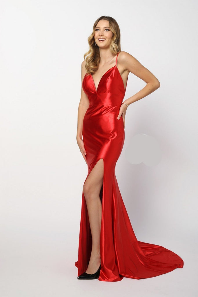 Deep V-Neckline Bright Sleeveless Mermiad Long Prom Dress NXC213