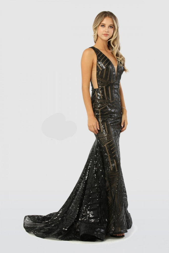V-Neckline V-Open-Back Patterned Bodice Mermaid Long Evening Dress NXC214