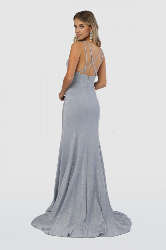 Deep V-Neckline Sleeveless Mermaid Leg Cut Cute Long Prom Dress NXC234