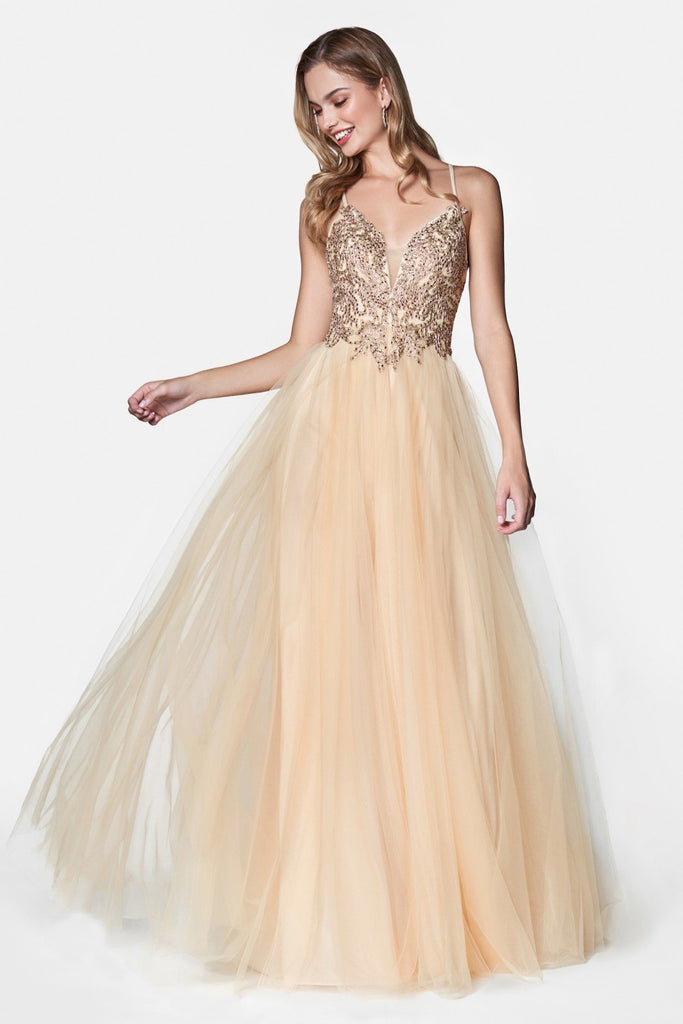 V-Neckline Jeweled Waist A-Line Long Evening Gown CDCD0128