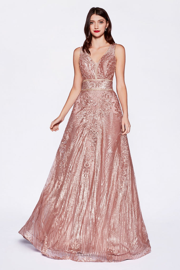 Sequined Sleeveless Long Evening Gown CDCD09