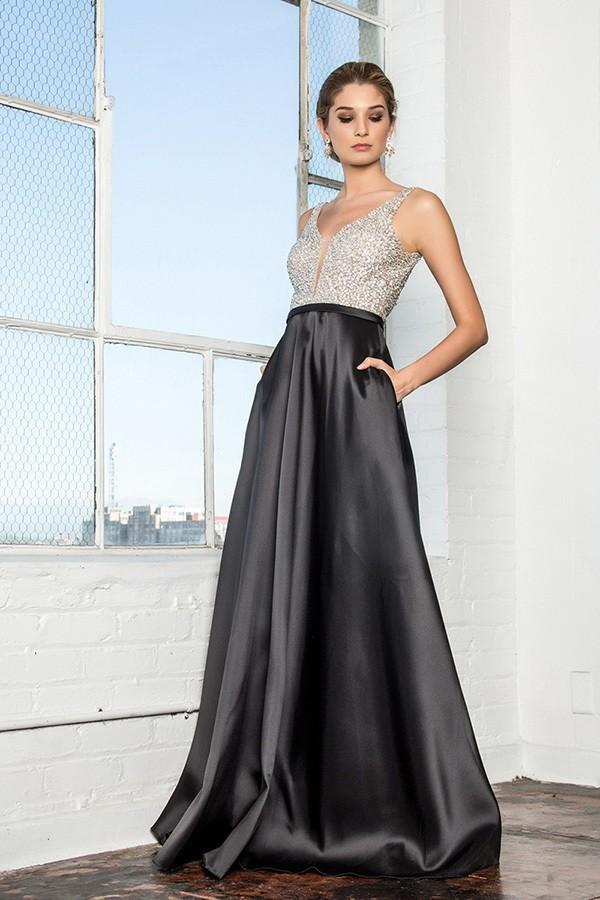 2018 New Sleeveless Sequin Top Evening Dress with V-Back GSGL2287