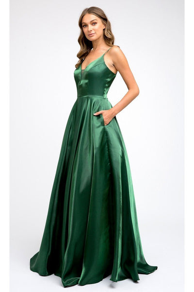 Deep V-Neck Long Prom Dress JT223