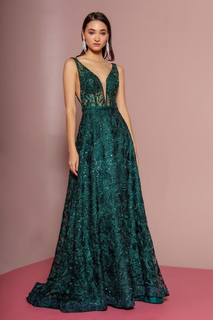 V-Neckline Green Sleeveless Sequined A-Line Dress GLSGL2634