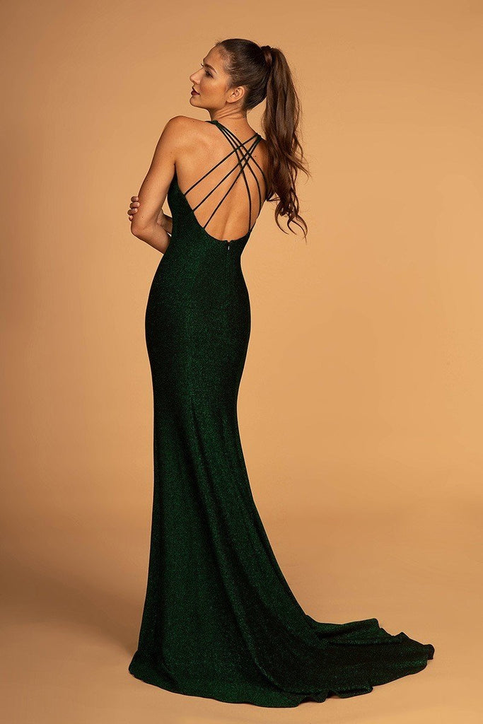 V-Neckline Open Back Sheath Shape Dress GL2549