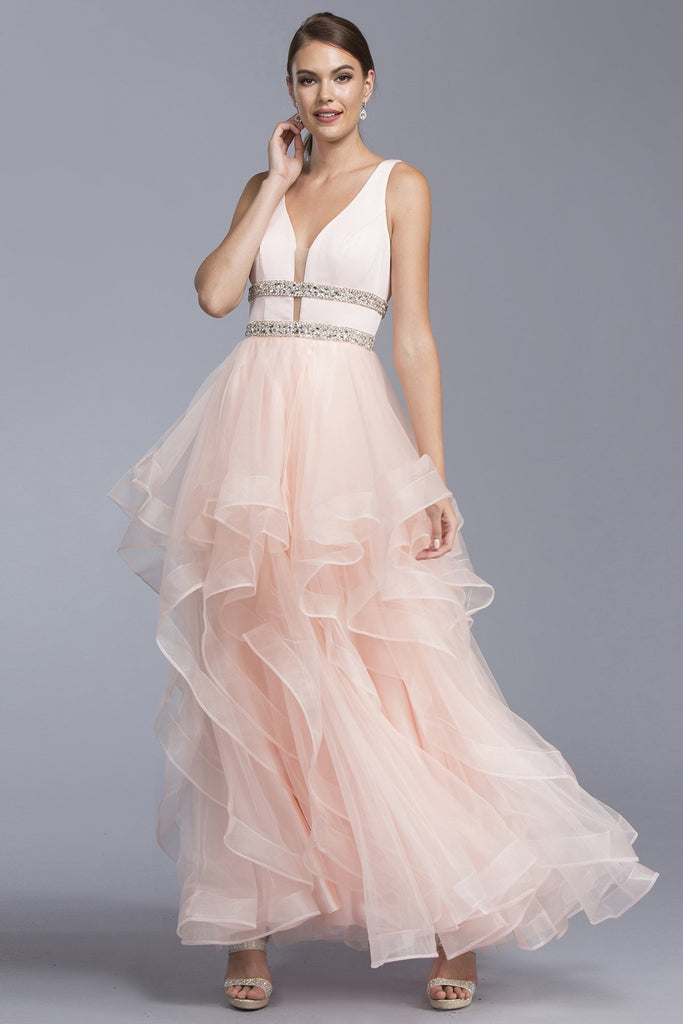 Blush A-line Evening Dress With V-back