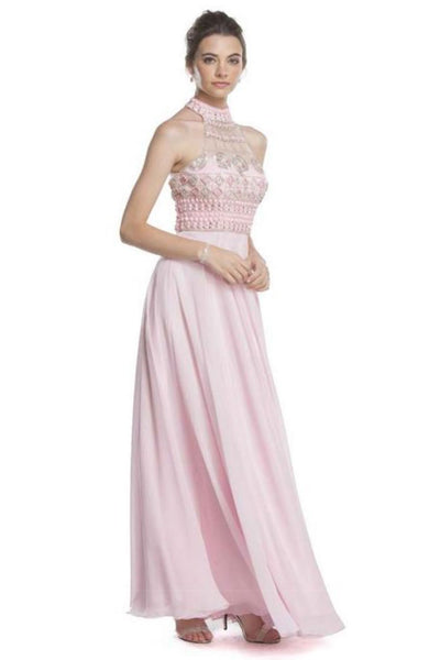 Formal Prom Dresses with Halter Bodice APL1617 - smcfashion.com