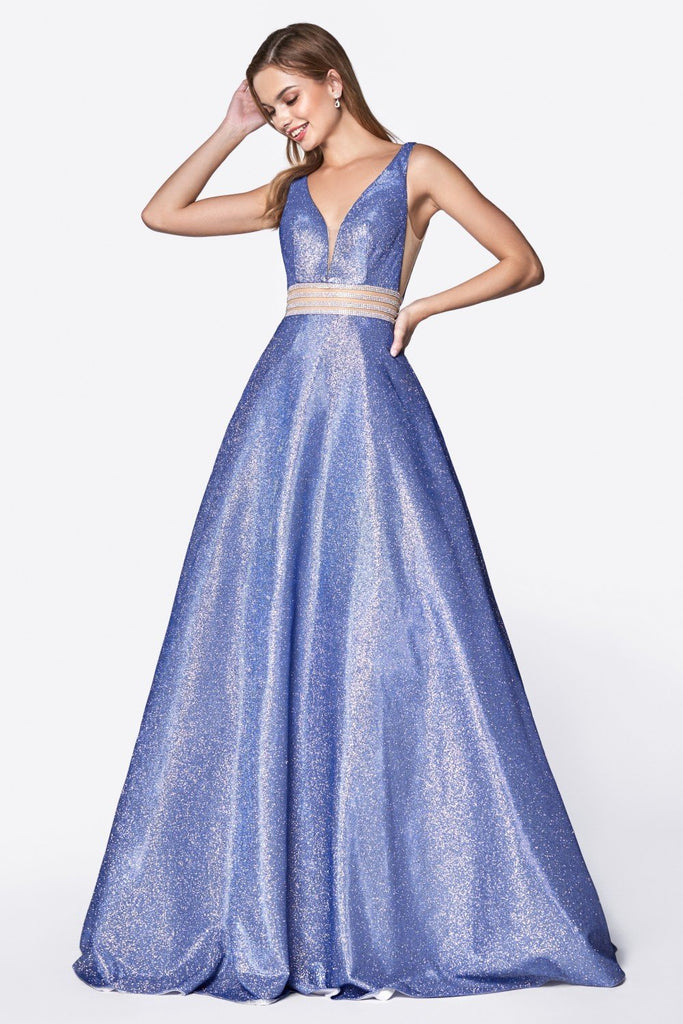Deep V-Neckline A-Line Long Prom Gown CDKC873