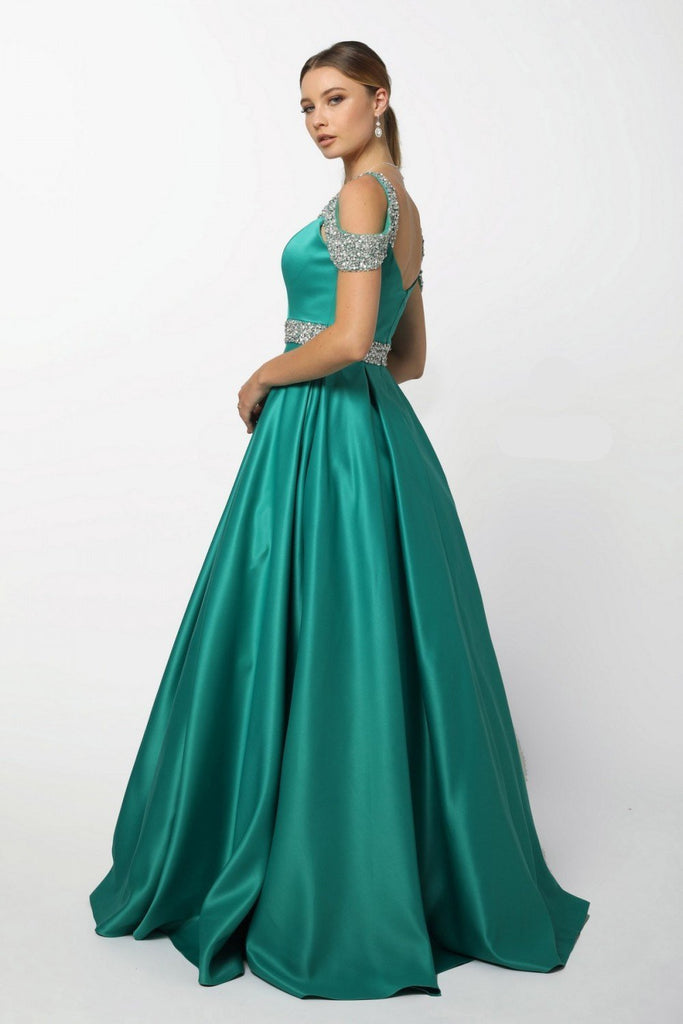 Off Shoulder Sweetheart Neckline Beaded Belt and Straps Long A-line Prom Dress NXR224