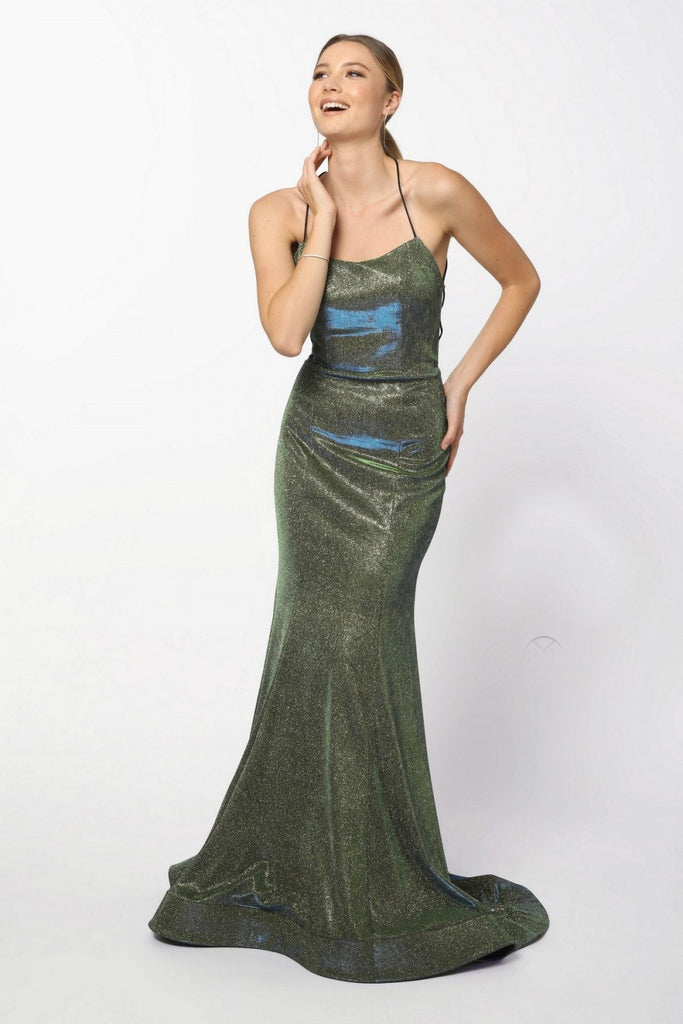Bateau Neckline Sleeveless Metallic Mermaid Long Prom Dress NXR273