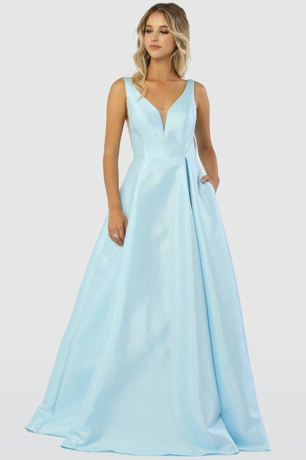 Deep V-Neckline Sleeveless A-Line Long Prom Dress Plus Size NXE1565XL