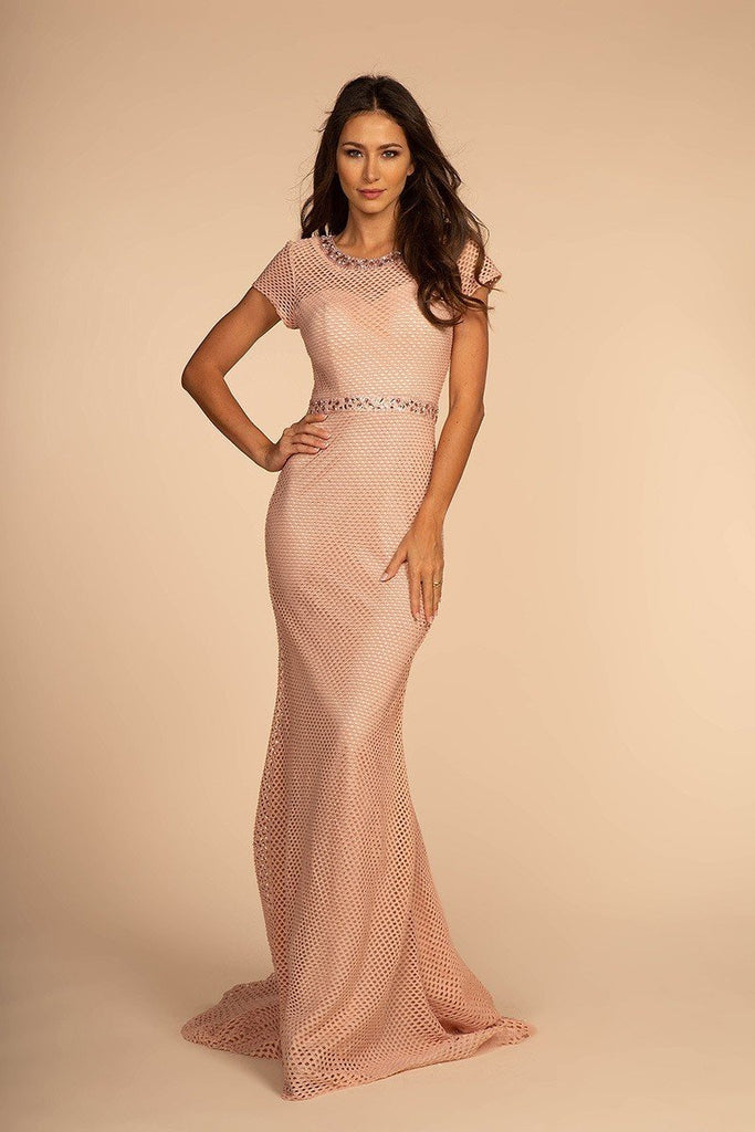 Scoop Neckline Short Sleeves Mermaid Long Evening Gown GSGL2612