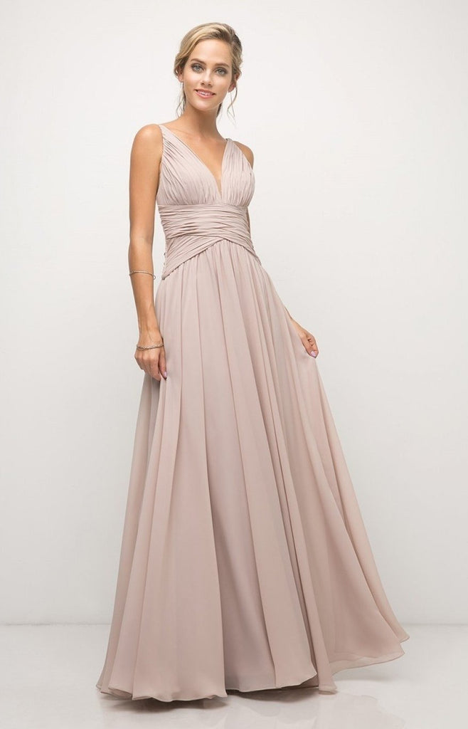 V-Neckline Sleeveless A-line Long Bridesmaid Dress CDUF295
