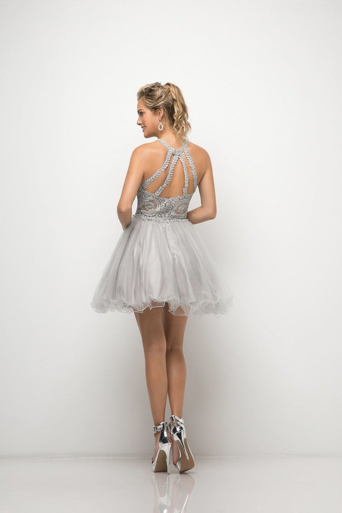 Wholesale Short Beaded Open Back Evening Cocktail Formal Dress 2018 CDUJ0119-Homecoming Dresses | Smcfashion.com-smcfashion.com