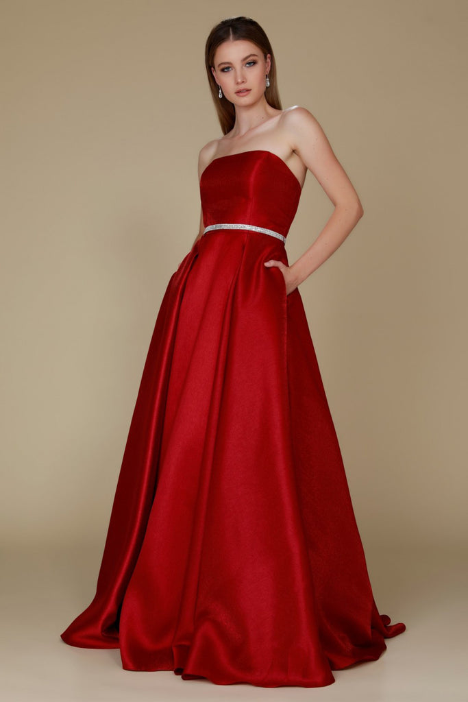Bateau Neckline Strapless Long Prom Dress NXY154 - smcfashion.com