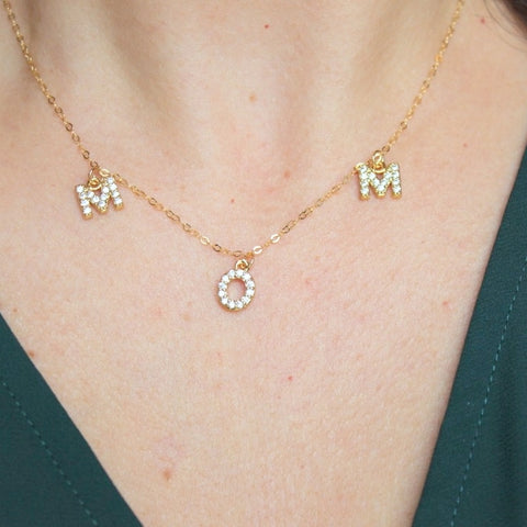 MOM Charm Necklace (Yellow Gold)