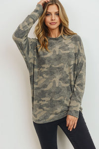 Cozy Brushed Knit Camo Top