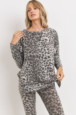 Cozy Brushed Knit Leopard Top