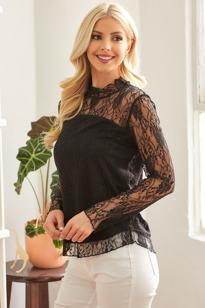 Black Lace Date Night Top