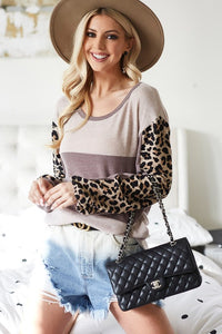 Color Block Lightweight Sweater (Mocha)