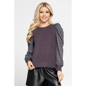 Grey Puffy Sleeve Top