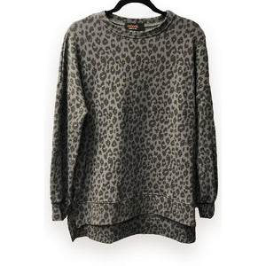 Grey Leopard Sweatshirt w/ Side Slits