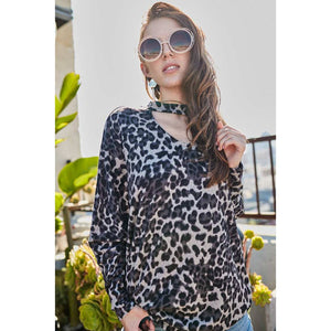 Choker Neck Leopard Knit Top