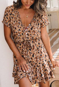 Leopard Button Mini Dress