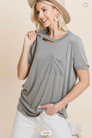 Distressed Basic Pocket Tee