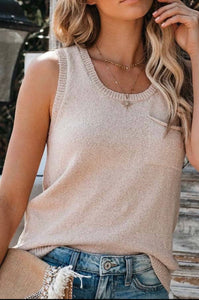 Taupe Loose-Knit Tank