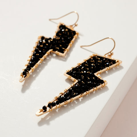 Black Seed Bead Thunderbolt Earrings